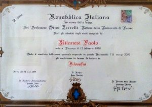 Laure in filosofia Paolo Milanesi
